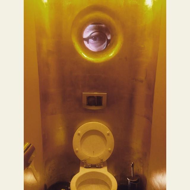 А глаз в окошке двигается... Но бывает и такой фетиш у людей! дизайн, прикол, санузел, туалет, унитаз