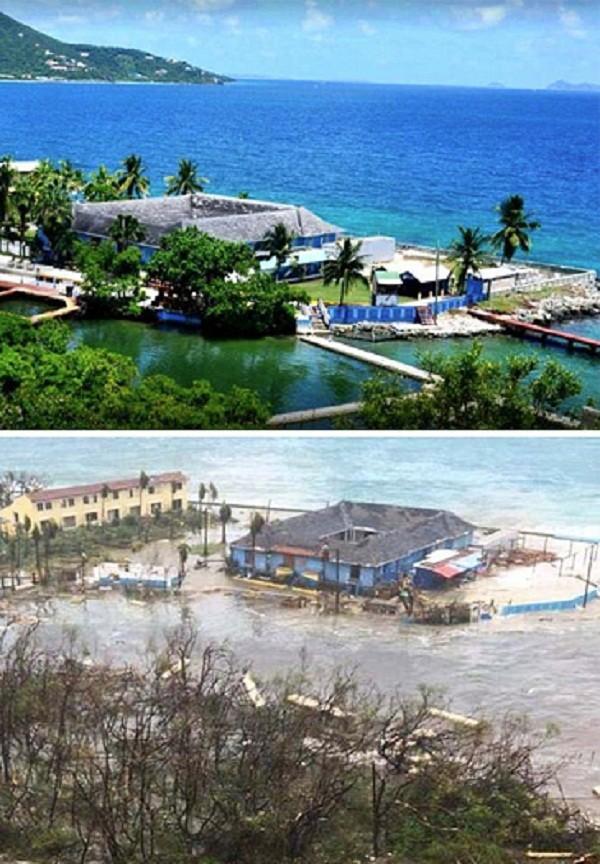Дельинарий на острове Тортола до и после Ирмы Центральная Америка, ирма, катастрофа, разрушения, стихийное бедствие, стихия, ураган, флорида