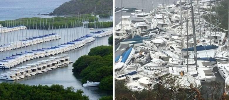Остров Тортола, марина в заливе Паракита бэй до и после Ирмы Центральная Америка, ирма, катастрофа, разрушения, стихийное бедствие, стихия, ураган, флорида