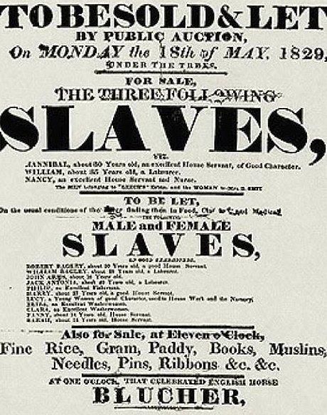 Объявление о продаже рабов от 18 мая 1829 года  аукцион, история, продажа, прошлое, раб, сша, фотография