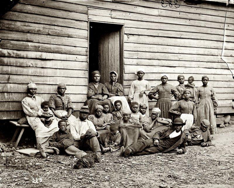 Спасшиеся от рабства в Вирджинии, 1861 год  аукцион, история, продажа, прошлое, раб, сша, фотография