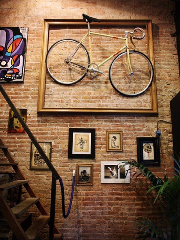 6. Велосипед часто используют в интерьере, не только его части велосипед, интересно, колесо, очумелые ручки, своими руками, фото
