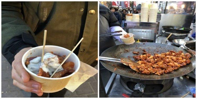 8. Курица в кисло-сладком соусе: $3 еда, еда быстро, сеул, уличная Еда, уличная еда, фастфуд, южная корея