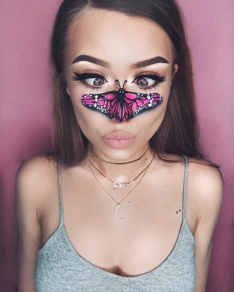 Вдохновляют Монику и различные живые существа, от бабочек Моника Фальчик, визажист, грим, иллюзия, красота, люди, макияж, художник