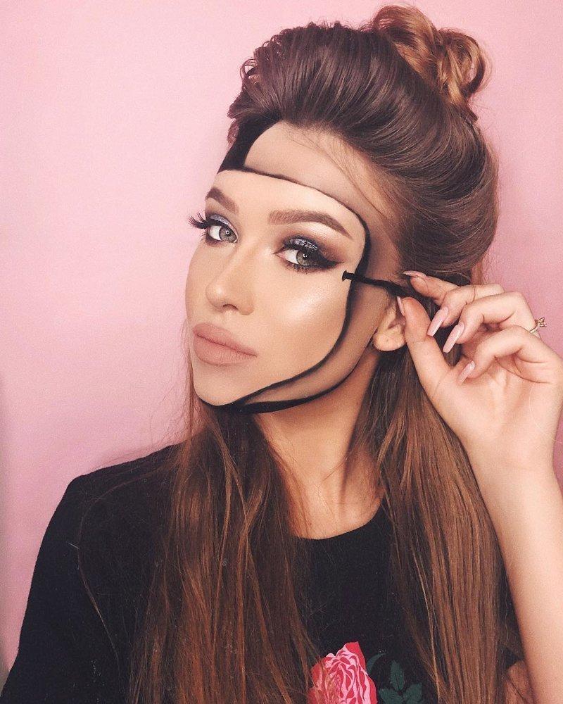 23-летняя девушка использует косметику для создания разнообразных иллюзий… Моника Фальчик, визажист, грим, иллюзия, красота, люди, макияж, художник