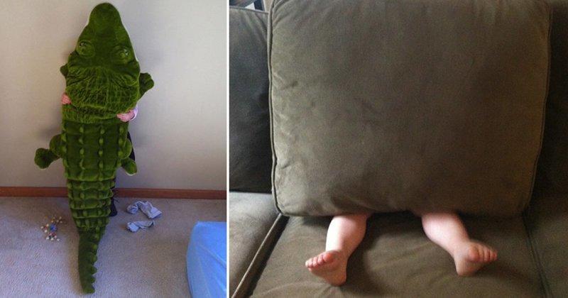 15 уроков от детишек, как нужно прятаться Веселые, дети, игра, прятки, фото, шалость