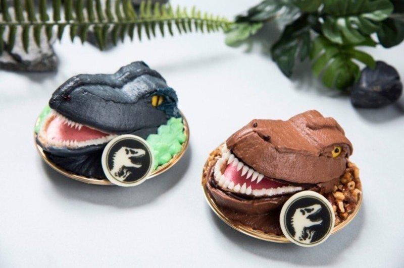 Очаровательные пирожные в виде динозавров блюда, еда, кафе, кино, креатив, мир юрского периода, ресторан, япония
