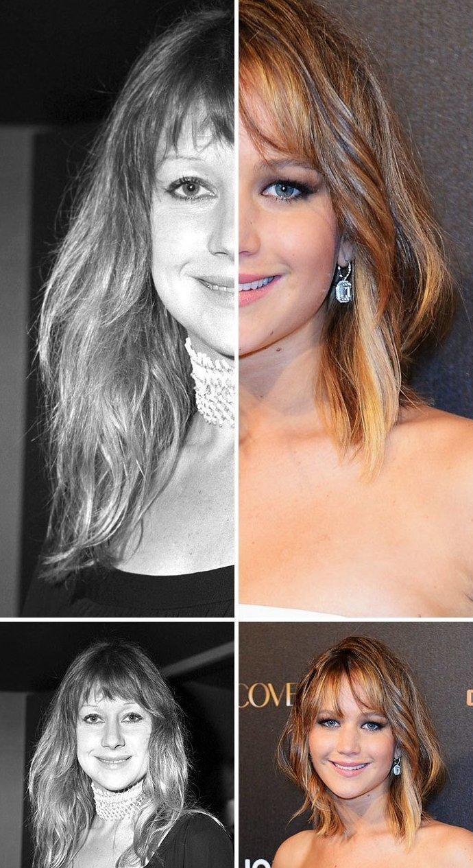 7. Хелен Миррен и Дженнифер Лоуренс актер, актриса, внешность, двойник, звезды, знаменитости, сходство