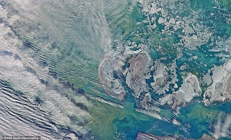 Каспий теңізінің солтүстік бөлігінің спутниктік бейнесі, сәуір, сәуір 2016 ж