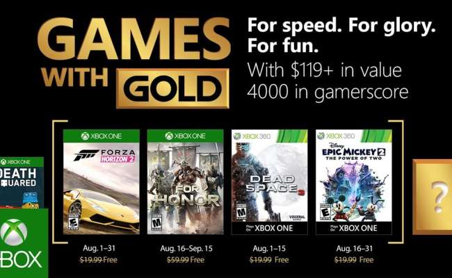Xbox Games With Gold For August 2018 Revealed