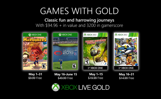 Xbox Games With Gold For May 2019 Announced