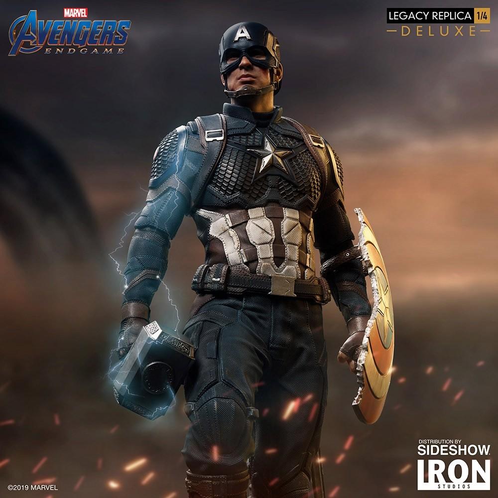 Avengers Assemble Wallpaper Hd Captain America Wields Mjolnir With Iron Studios Avengers