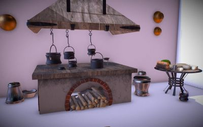 Medieval Kitchen Low Poly AR VR Asset Pack FlippedNormals