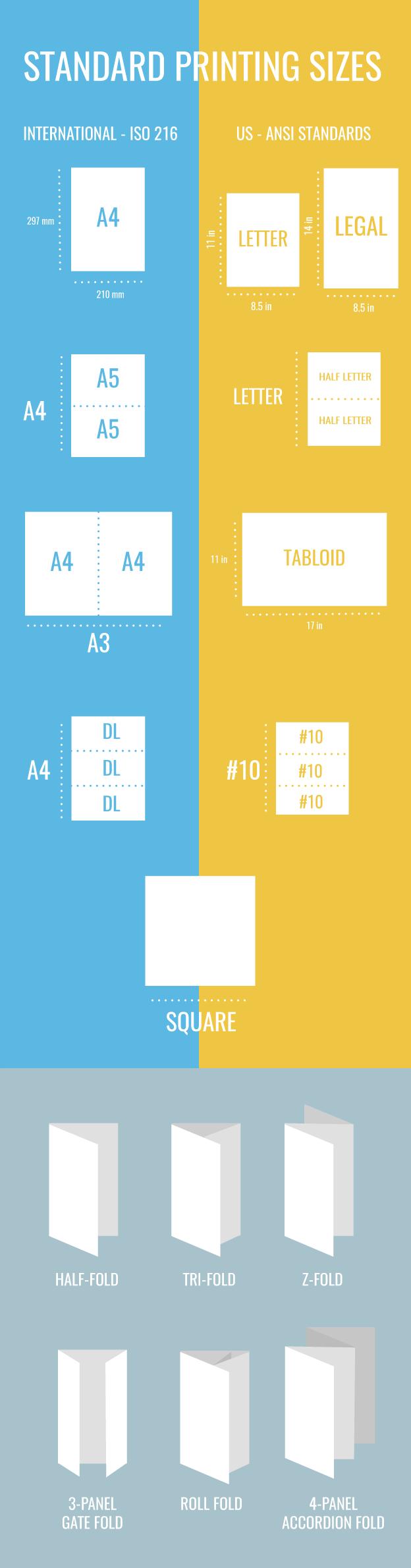 standard brochure sizes for