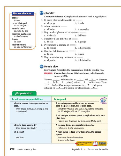 Expresate Holt Spanish 2 Workbook Answers Ch7