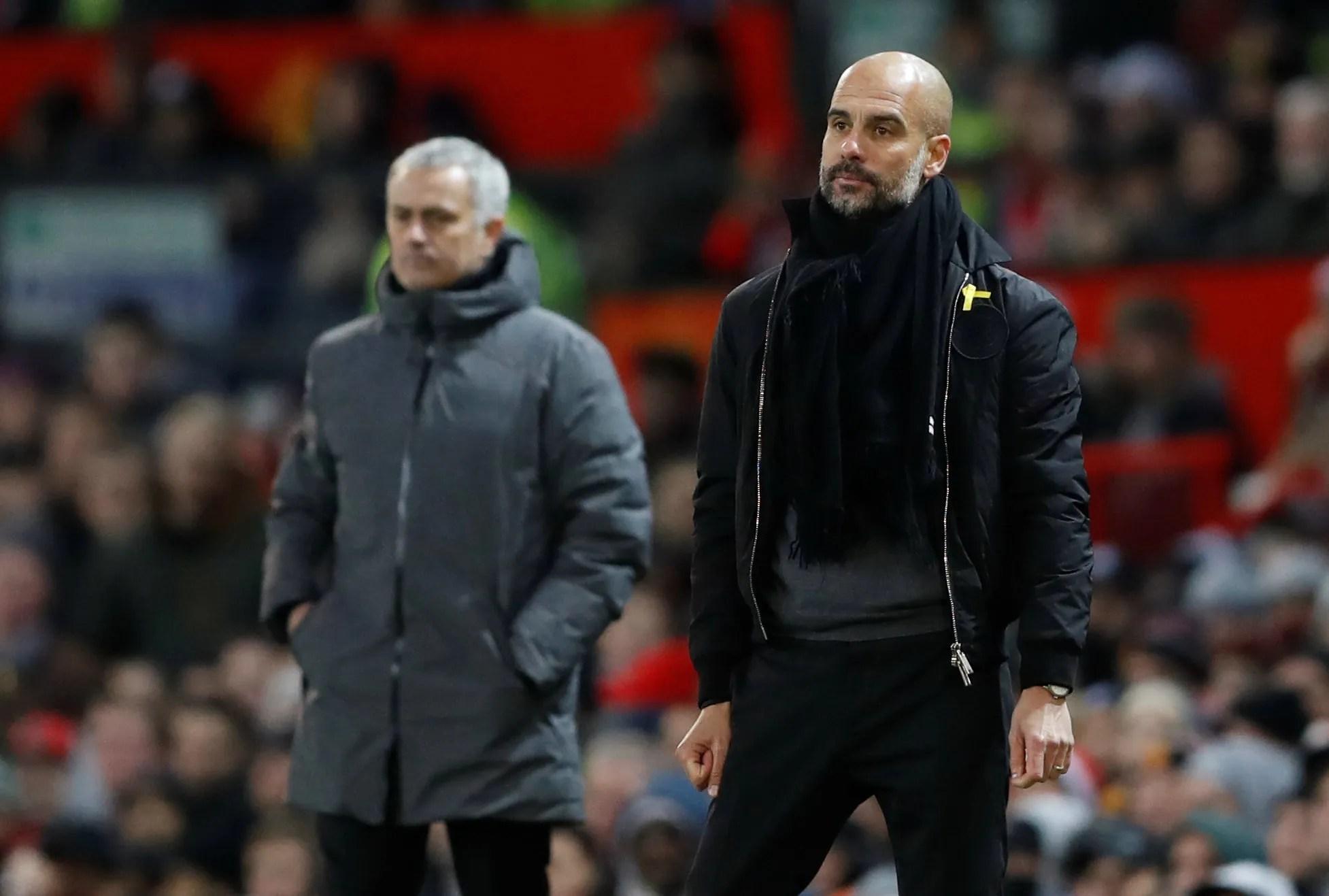 Premier League - Manchester United vs Manchester City - Pep Guardiola and Jose Mourinho