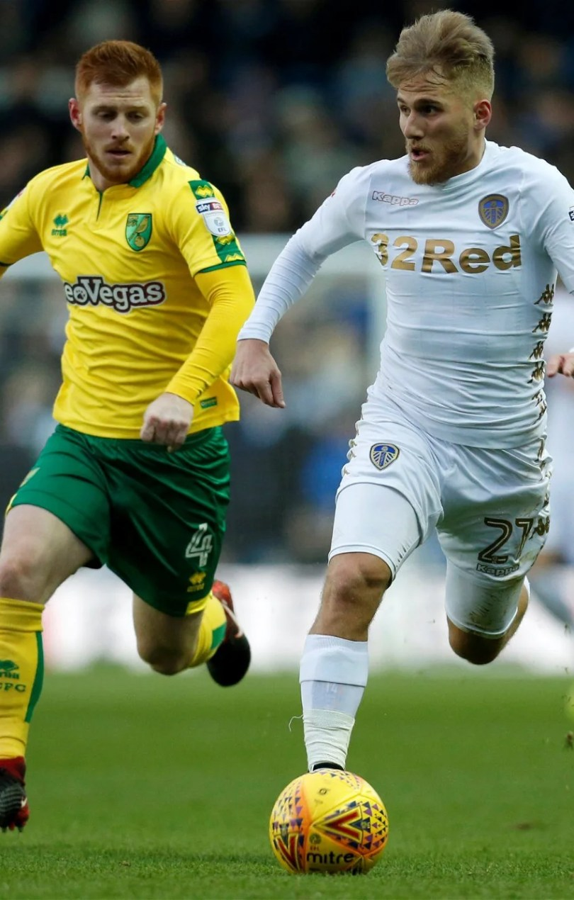 Samuel Saiz in action for Leeds vs Norwich