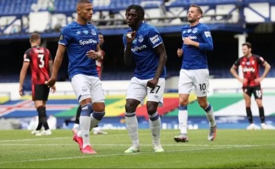 Moise Kean celebrates Everton vs AFCB goal