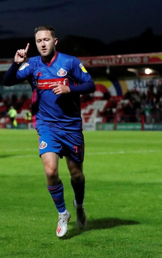 Sunderland's Aiden McGeady celebrates his third goal at Accrington Stanley