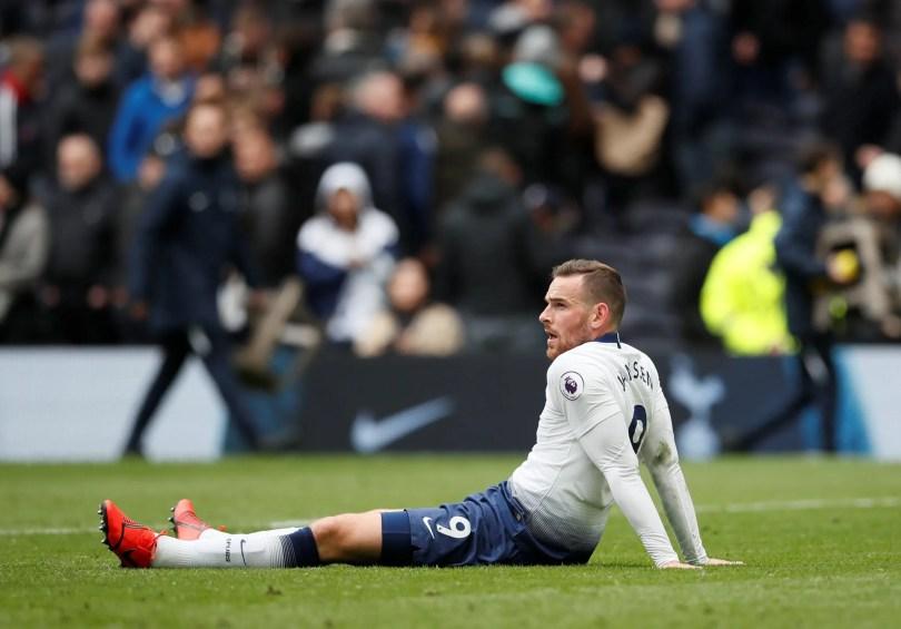 Tottenham's Vincent Janssen reacts after the match