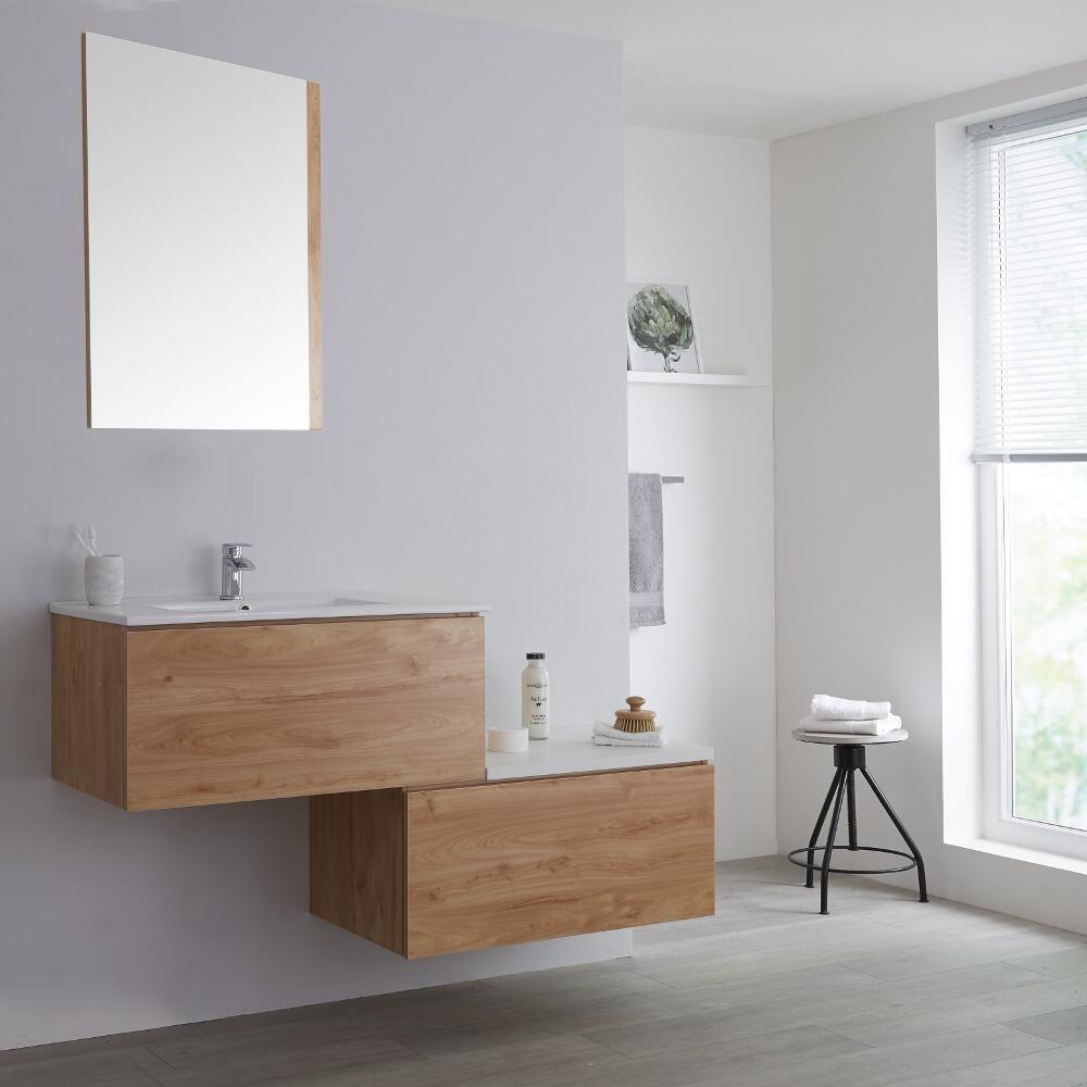 meuble salle de bain avec vasque 140 cm effet chene blanc newington