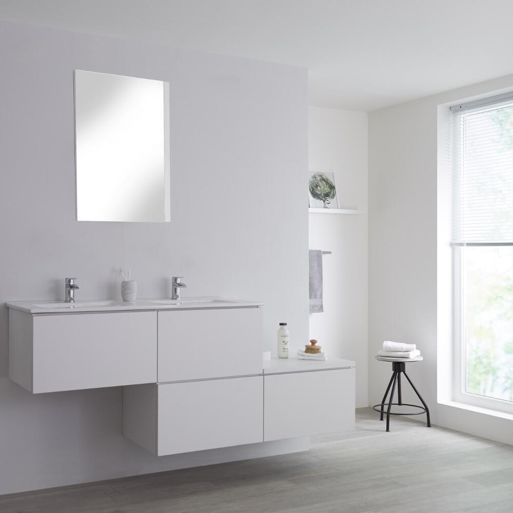 Meuble Salle De Bain Avec Double Vasques Encastrees Blanc Newington 180cm