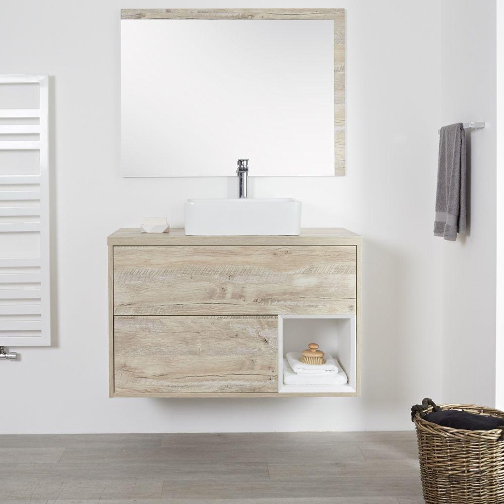 meuble salle de bain chene clair avec vasque a poser 100cm 2 tiroirs