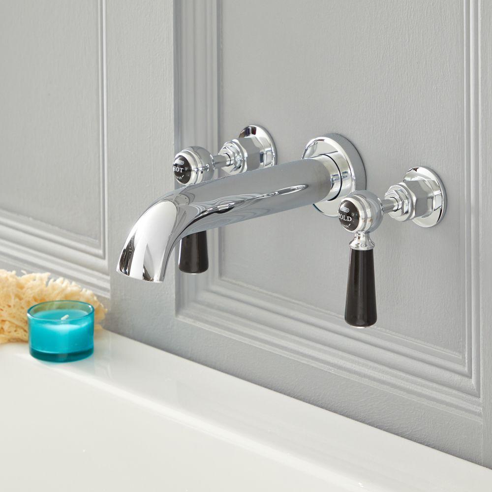 robinet baignoire mural retro a 3 trous commandes leviers chrome et noir elizabeth
