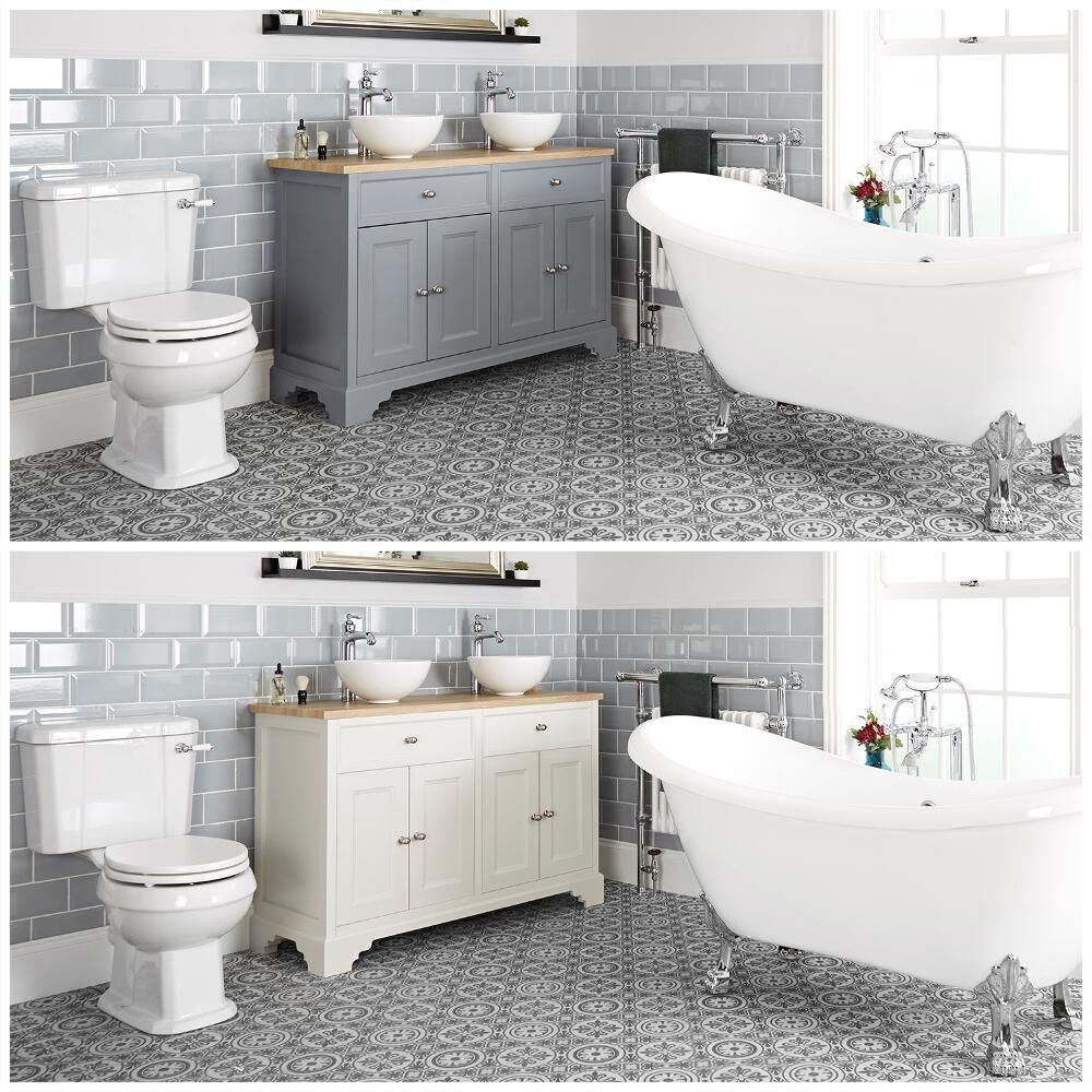 ensemble de salle de bain retro avec baignoire ilot meuble sous lavabo 120 cm avec vasques a poser et pack wc thornton