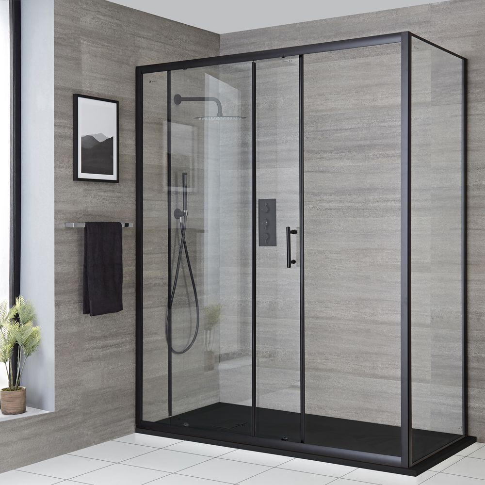 cabine de douche d angle a porte coulissante avec receveur de douche noir tailles multiples nox