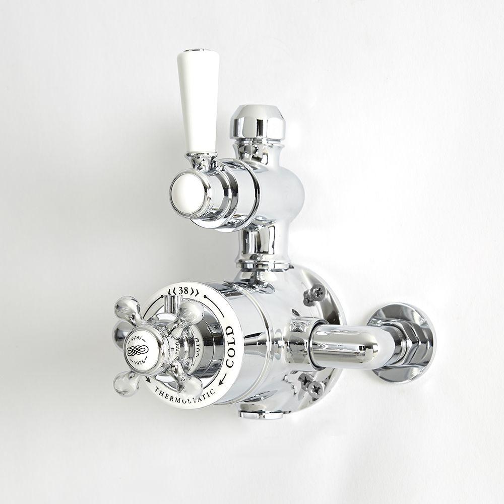 mitigeur de douche thermostatique retro expose a 1 fonction chrome et blanc elizabeth