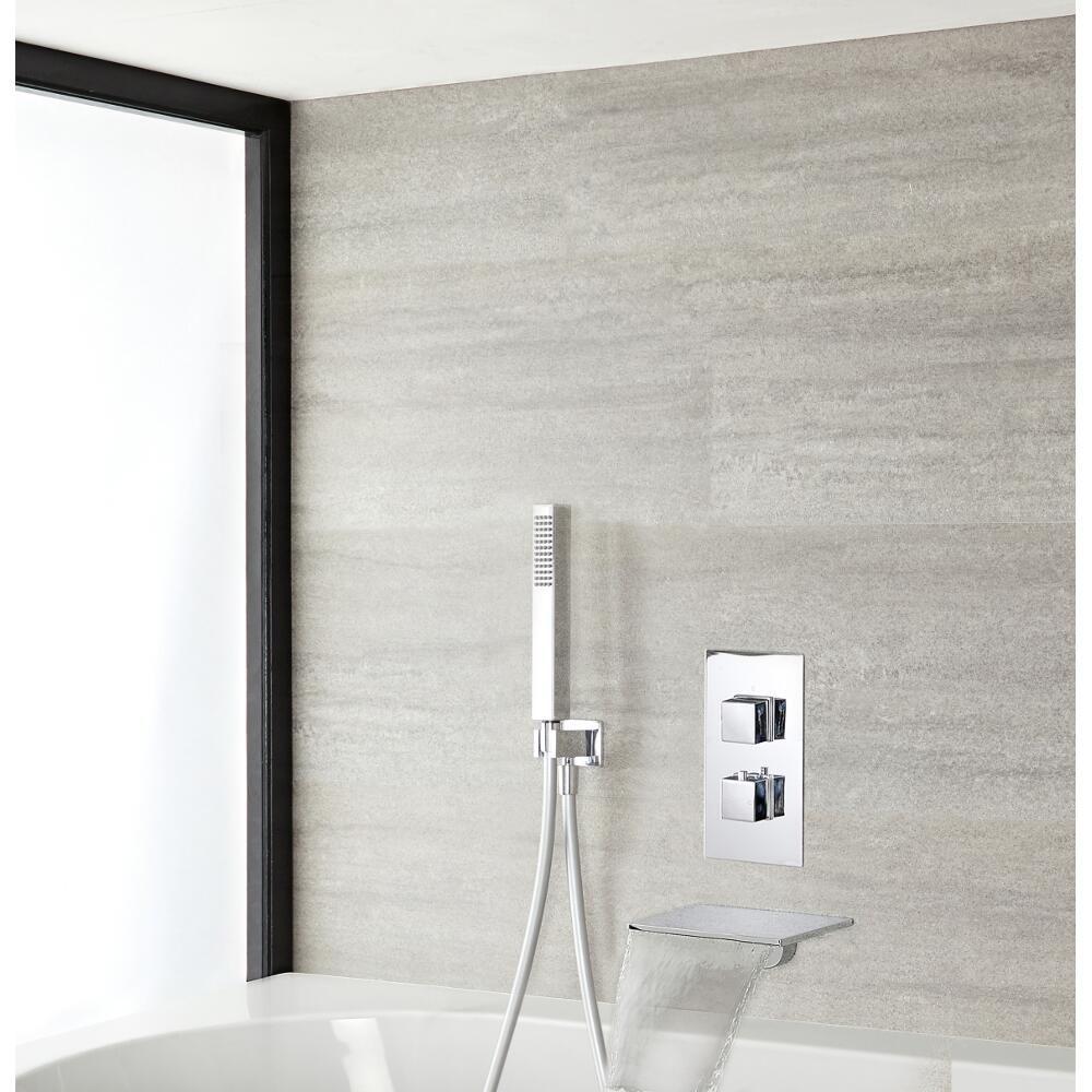 mitigeur de douche thermostatique avec douchette et bec cascade chrome double fonction kubix
