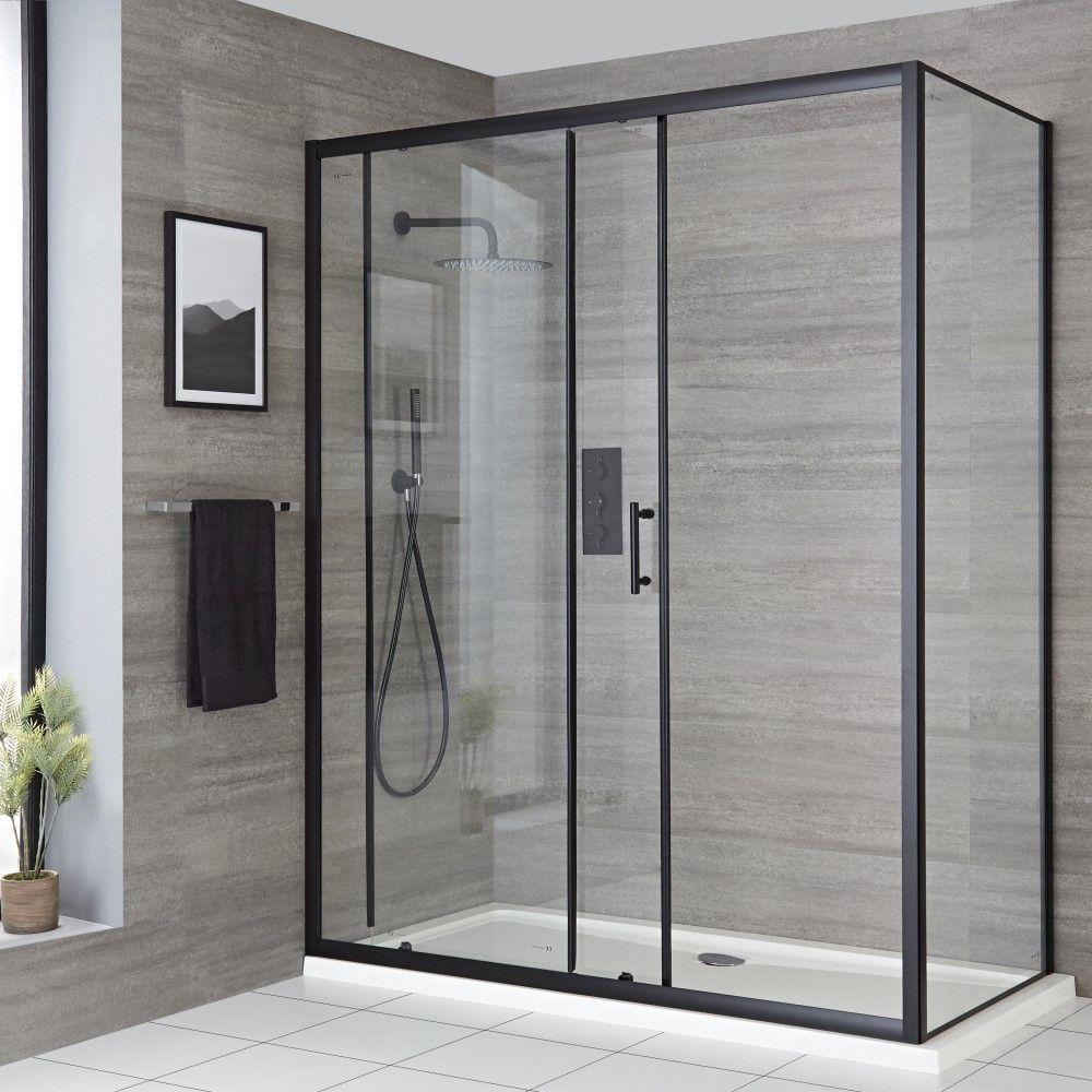 porte de douche coulissante noir tailles multiples nox