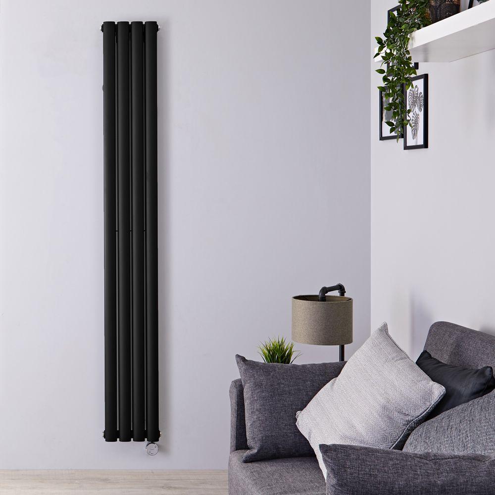 radiateur design electrique vertical noir 178 cm x 23 6 cm x 7 8 cm vitality
