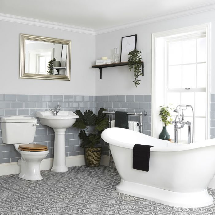 ensemble de salle de bain retro baignoire ilot pack wc et lavabo sur colonne ryther