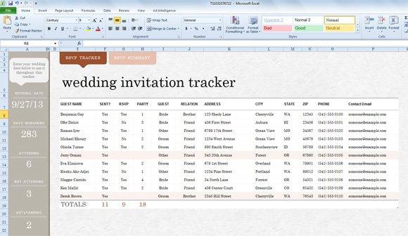 Wedding Invitation List Template Excel – Wedding Contact List Template