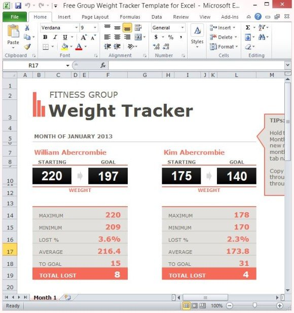Sales activity tracker excel template by week. Free Group Weight Tracker Template For Excel