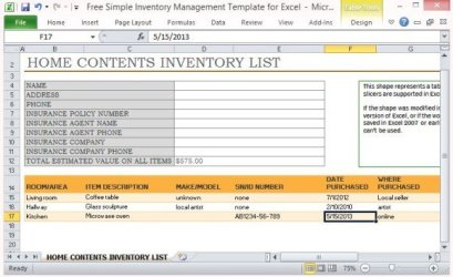 inventory template management templates simple excel landlord unfurnished contents valuables word powerpoint insurance property sample checklist sheet form record microsoft