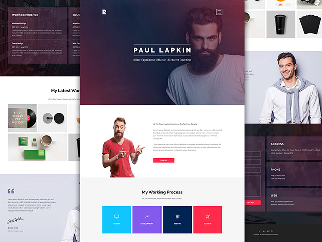 Personal Website PSD Template #2 Freebiesbug