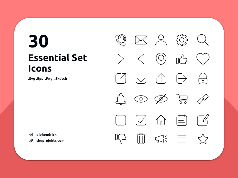 Download 30 Essential Icons Set by Dei - Freebie Supply