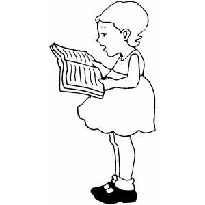 Girl Reading Book Coloring Sheet