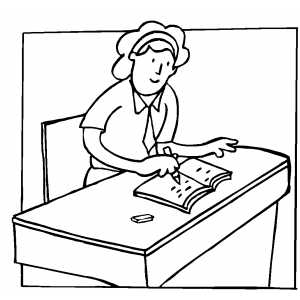 Student At Desk Coloring Page Coloring Pages