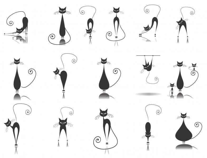 Cute cartoon animals [Cats] Free Vector Download
