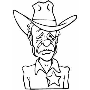 Sad Sheriff Coloring Page