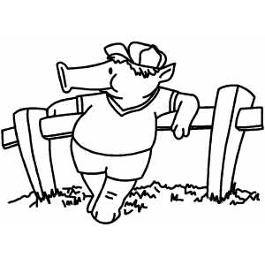 Pig Resting On Fence Coloring Page