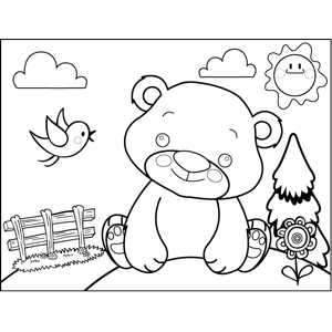Daydreaming Bear Coloring Page