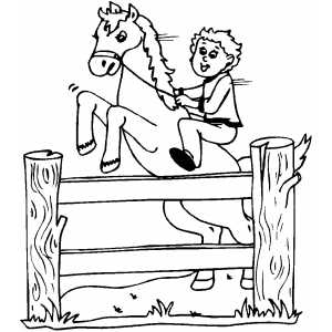 Horse Jumping Over Fence Coloring Page