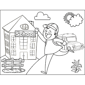 Boy Running School Bus Coloring Page