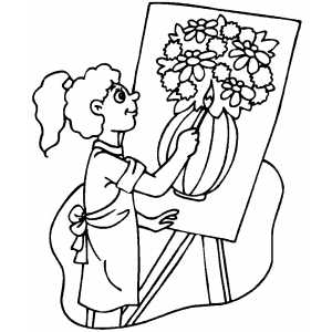 Girl Drawing Vase With Flowers Coloring Page