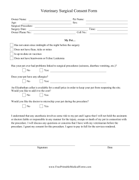 surgery consent forms templates